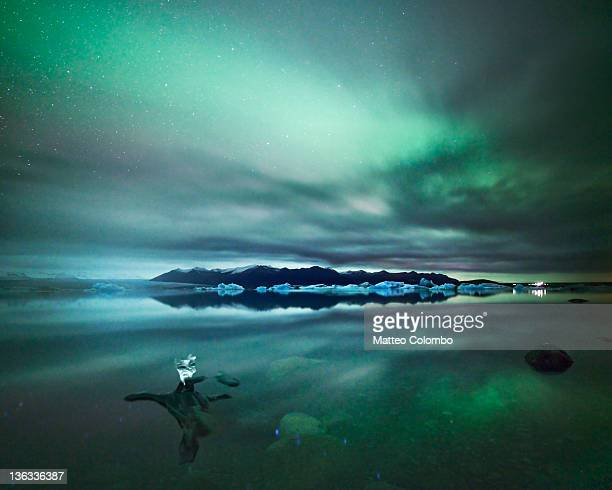 Aurora borealis reflected in glacial lake