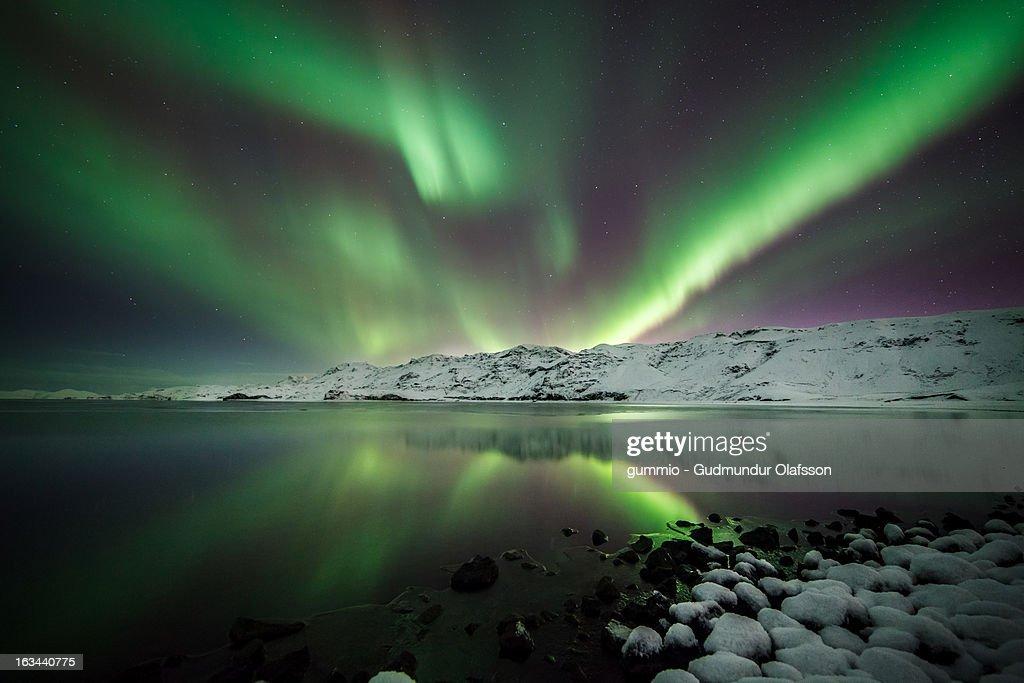 Aurora Borealis reflection lake Kleifarvatn