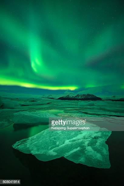 Aurora display at Jokulsarlon Glacier Lagoon