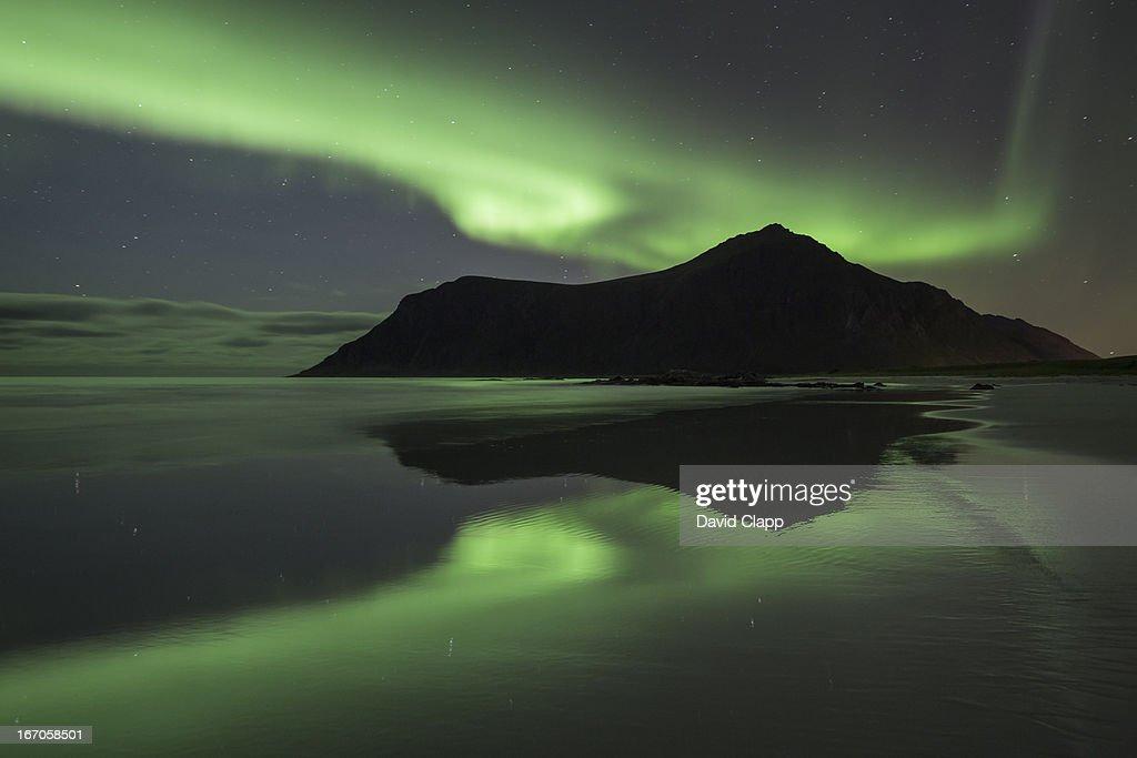 Aurora, Flakstadoya, Norway, Scandinavia : Stock Photo