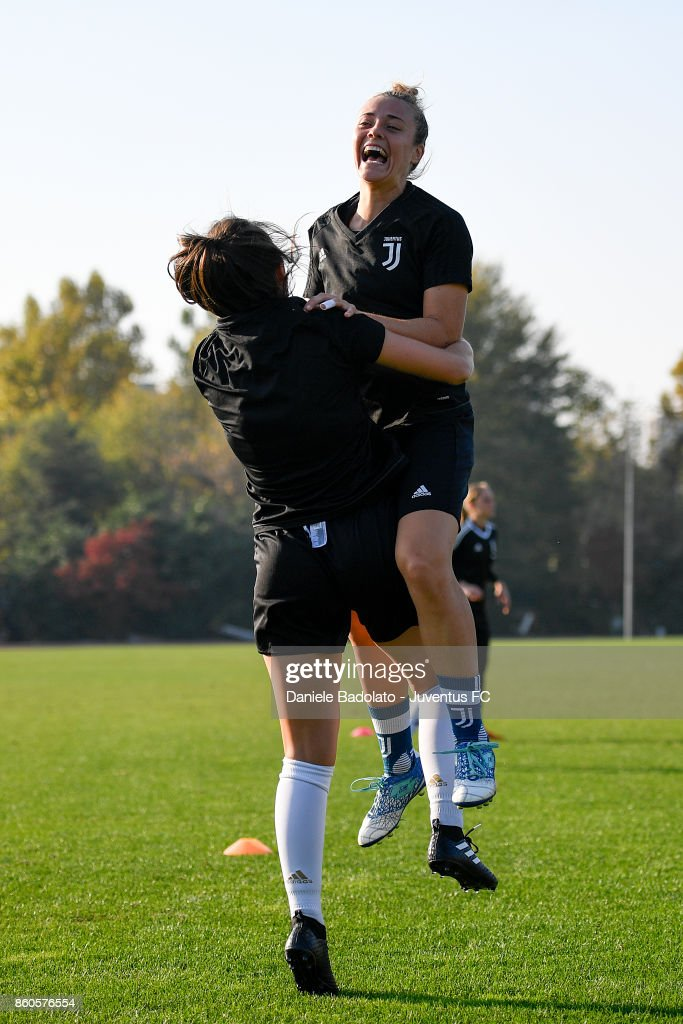 Aurora Galli during a Juventus Women training session on October 12, 2017 in Turin, Italy.