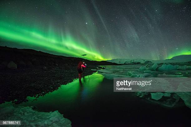 Aurora Light over Jokulsarlon Iceland