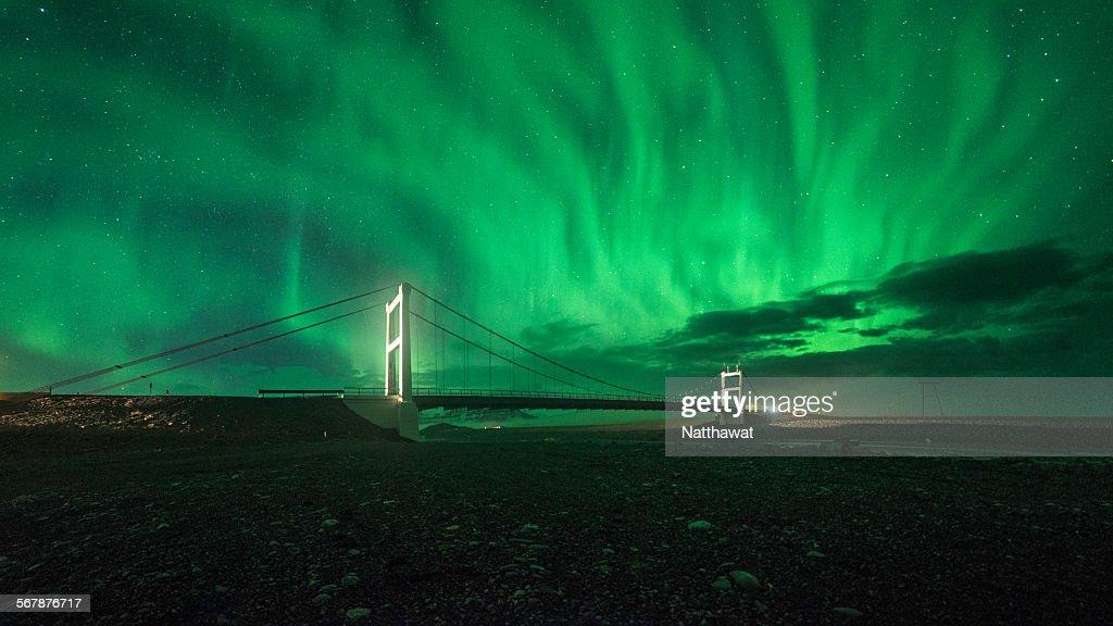 Aurora over Bridge at Jokulsarlon lagoon, Iceland