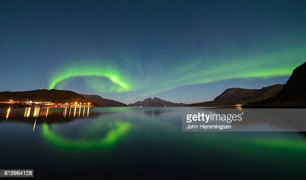 aurora over flat sea