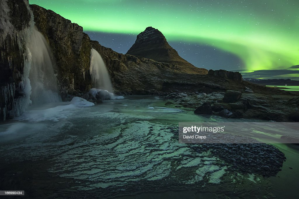 Aurora over Kirkjufell, Iceland : Stock Photo
