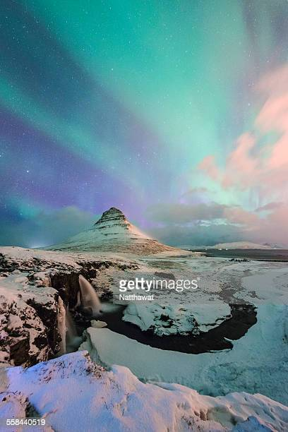 Aurora over Kirkjufell Mountain Iceland