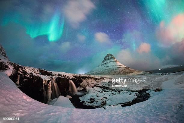 Aurora over Kirkjufell Mountain Iceland