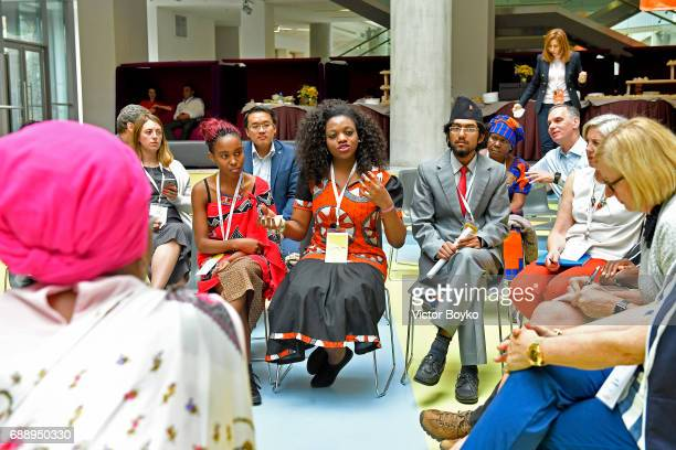 Aurora Prize Laureate and Founder of Maison Shalom Marguerite Barankitse and students during the Galvanizing the World Break Out Sessions at the...