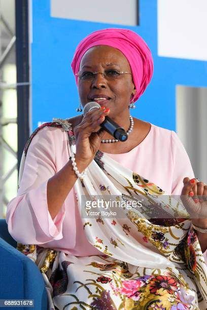 Aurora Prize Laureate and Founder of Maison Shalom Marguerite Barankitse during the Galvanizing the World Session at the Aurora Dialogues a series of...