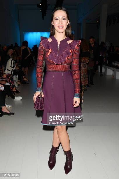 Aurora Ramazzotti attends the Versace show during Milan Fashion Week Spring/Summer 2018 on September 22 2017 in Milan Italy