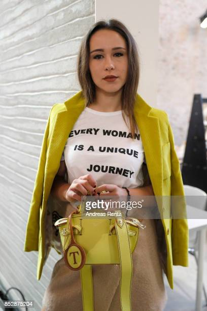 Aurora Ramazzotti is seen backstage ahead of the Trussardi show during Milan Fashion Week Spring/Summer 2018on September 24 2017 in Milan Italy