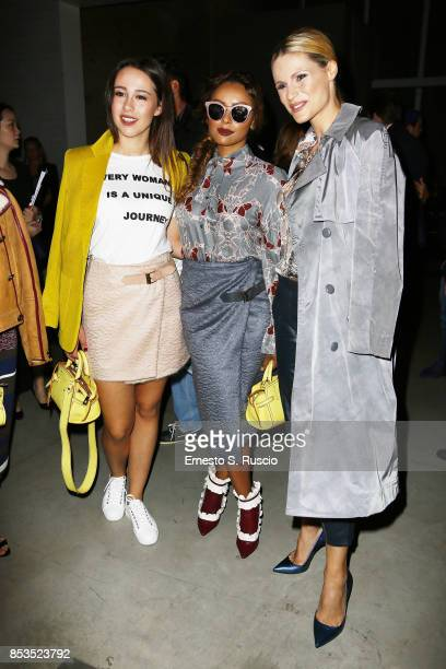 Aurora Ramazzotti Kat Graham and Michelle Hunziker attend the Trussardi Fashion Show during Milan Fashion Week Spring/Summer 2018 on September 24...