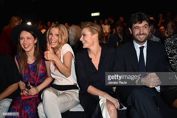 Aurora Ramazzotti Michelle Hunziker Emma Winter and Andrea Agnelli attend Trussardi Fashion Show during Milan Fashion Week Womenswear Spring/Summer...