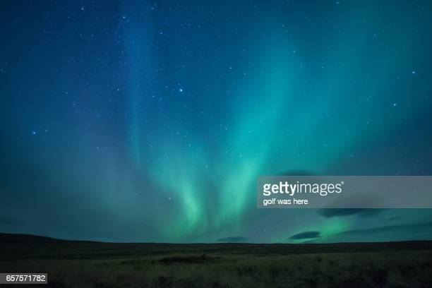 Aurora ring and stars in the night sky in Iceland