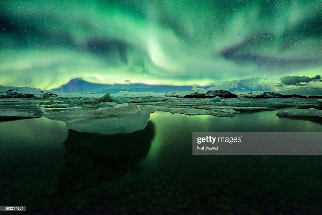 Aurora with Iceberg at Jokulsarlon Iceland : Stock Photo