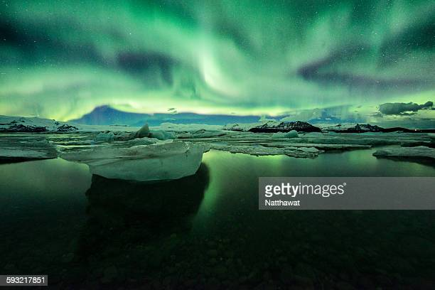 Aurora with Iceberg at Jokulsarlon Iceland