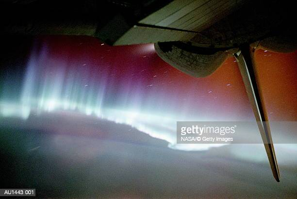 Auroral substorm and Space Shuttle's tail (Enhancement)
