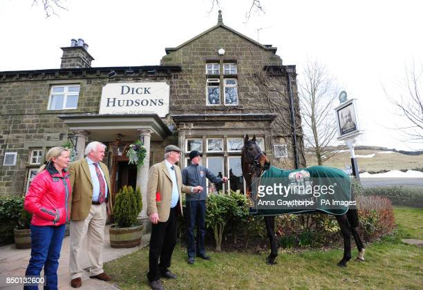 Auroras Encore outside his local pub the Dick Hudsons during the winners photocall at Craiglands Farm Bingley