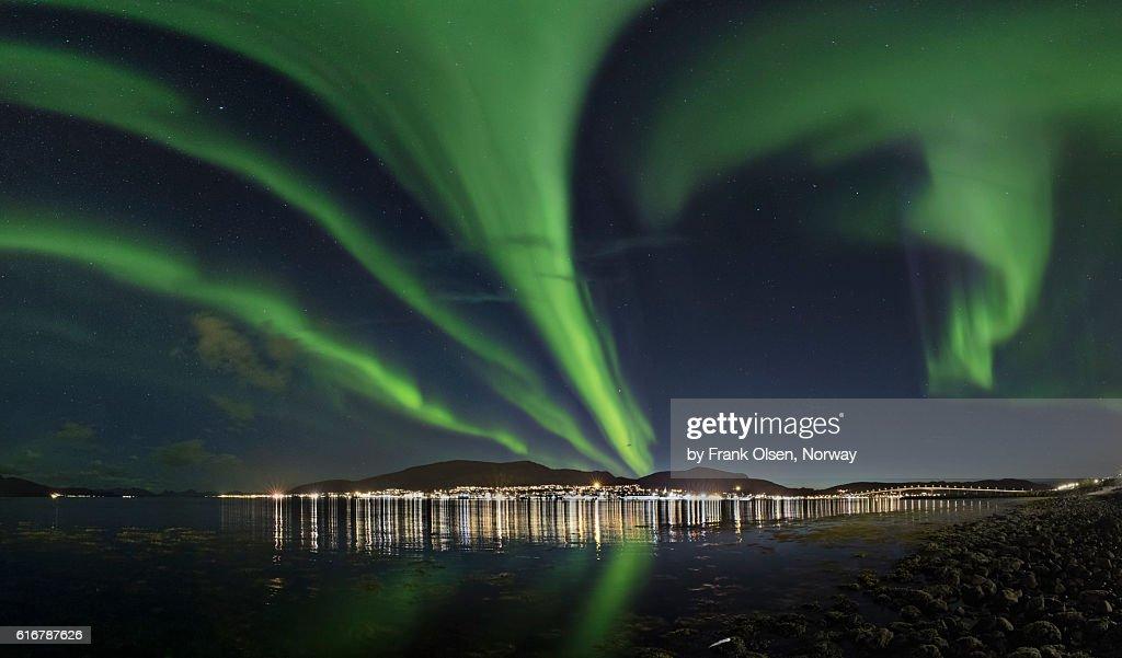 Auroras over Sortland City : Stock Photo