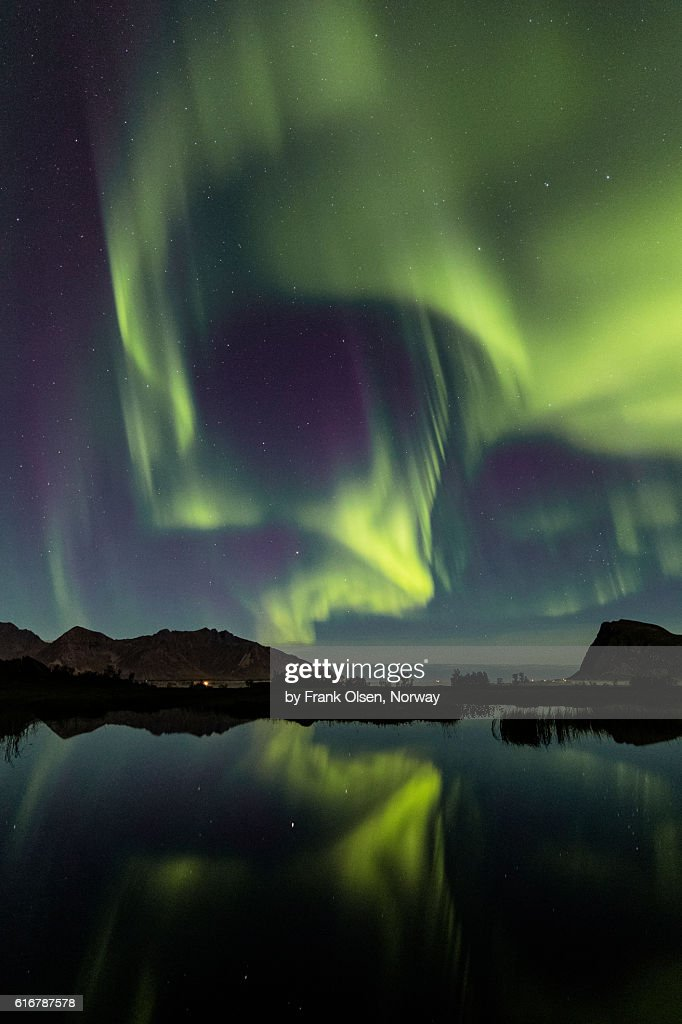 Auroras over the lake : Stock Photo