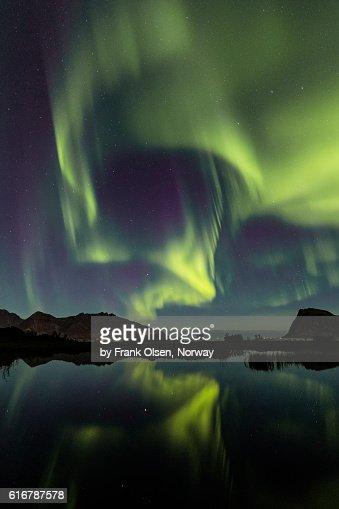 Auroras over the lake : Stock Photo