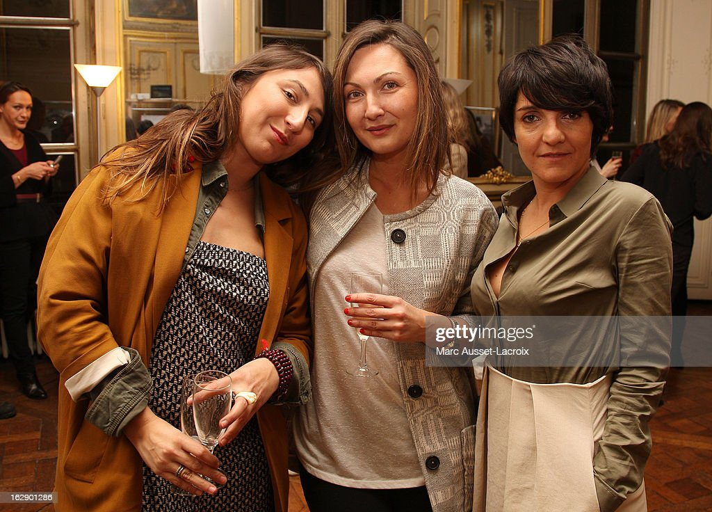 Aurore Pierre, <a gi-track='captionPersonalityLinkClicked' href=/galleries/search?phrase=Delphine+Manivet+-+Fashion+Designer&family=editorial&specificpeople=13644542 ng-click='$event.stopPropagation()'>Delphine Manivet</a> and <a gi-track='captionPersonalityLinkClicked' href=/galleries/search?phrase=Florence+Foresti&family=editorial&specificpeople=4946831 ng-click='$event.stopPropagation()'>Florence Foresti</a> attend a private cocktail reception for the presentation of the <a gi-track='captionPersonalityLinkClicked' href=/galleries/search?phrase=Delphine+Manivet+-+Fashion+Designer&family=editorial&specificpeople=13644542 ng-click='$event.stopPropagation()'>Delphine Manivet</a> Collection during Paris Fashion Week Fall/Winter 2013 on February 28, 2013 in Paris, France.