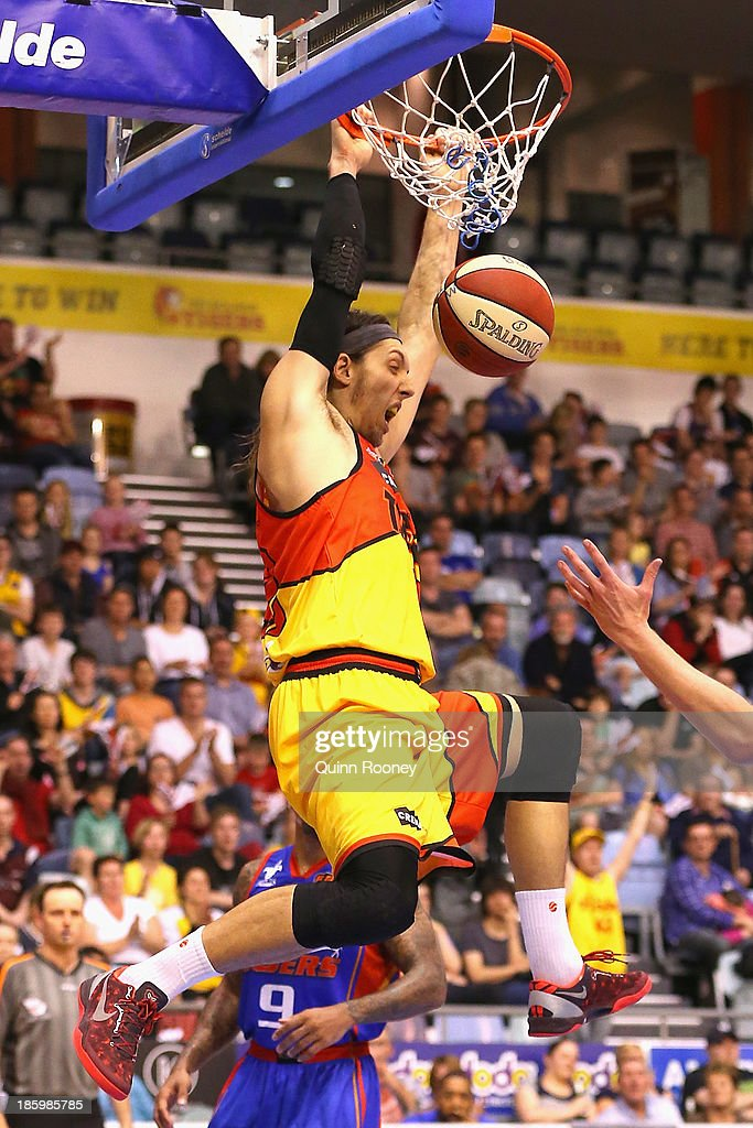 Auryn MacMillan of the Tigers dunks the ball during the round three NBL match between the Melbourne Tigers and the Adelaide 36ers at the State Netball Hockey Centre in October 27, 2013 in Melbourne, Australia.