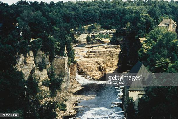 Ausable Chasm a sandstone gorge in the Adirondack Mountains New York State USA circa 1965 The Ausable River runs through it