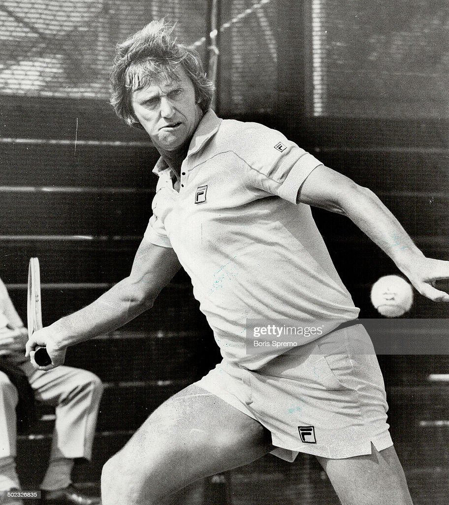 Aussie Legend Roy Emerson unleashes a forehand smash in beating