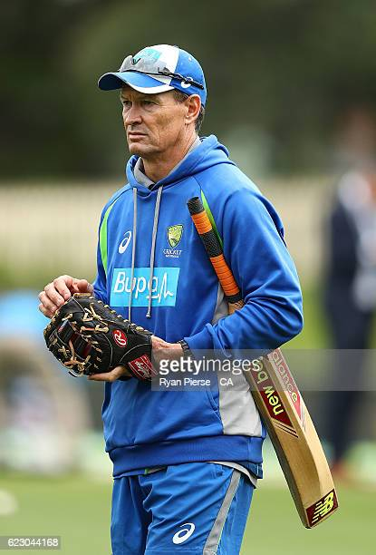 Austalian batting coach Graeme Hick looks on during day three of the Second Test match between Australia and South Africa at Blundstone Arena on...