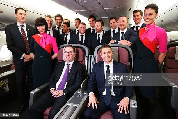 Austalian captain Michael Clarke and members of the Australian cricket team pose with Qantas CEO Alan Joyce in a Qantas A380 during the Cricket...