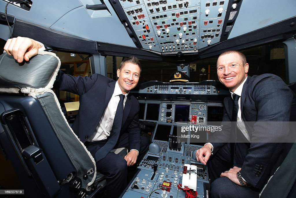 Austalian captain Michael Clarke (L) and vice-captain <a gi-track='captionPersonalityLinkClicked' href=/galleries/search?phrase=Brad+Haddin&family=editorial&specificpeople=193800 ng-click='$event.stopPropagation()'>Brad Haddin</a> (R) pose in the cockpit of a Qantas A380 during the Cricket Australia Ashes official team farewell at Sydney International Airport on May 22, 2013 in Sydney, Australia.