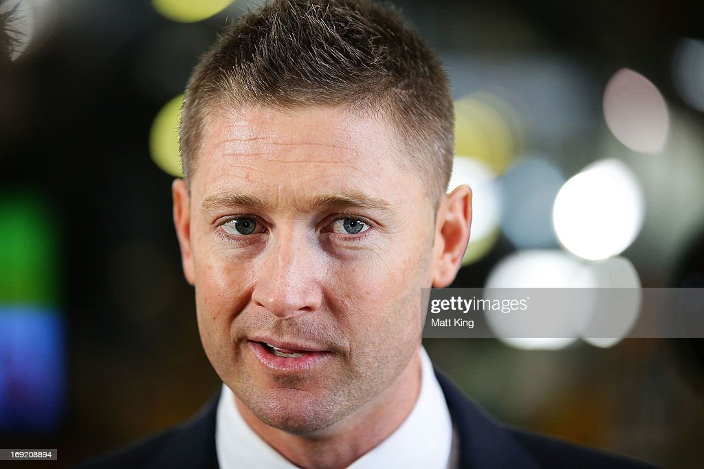 Austalian captain <a gi-track='captionPersonalityLinkClicked' href=/galleries/search?phrase=Michael+Clarke+-+Cricket+Player&family=editorial&specificpeople=175853 ng-click='$event.stopPropagation()'>Michael Clarke</a> speaks to the media during the Cricket Australia Ashes official team farewell at Sydney International Airport on May 22, 2013 in Sydney, Australia.