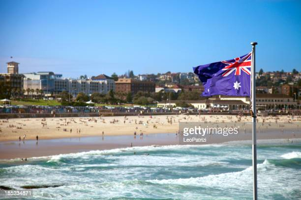 Austalian flag in Sydney Bondi Beach