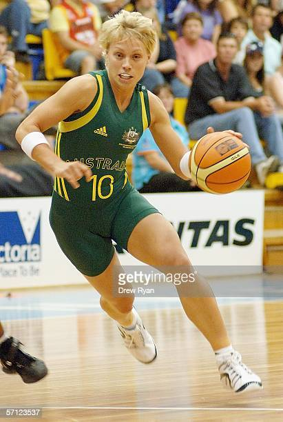 Austalia's Erin Phillips drives for the basket during the women's preliminary final game between Mozambique and Australia on day 3 of the...