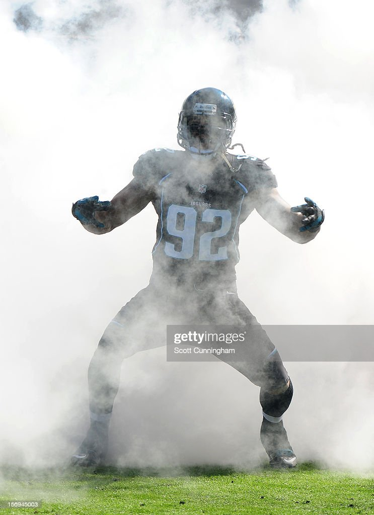 Austen Lane #92 of the Jacksonville Jaguars is introduced before the game against the Tennessee Titans at EverBank Field on November 25, 2012 in Jacksonville, Florida