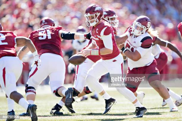 Austin Allen of the Arkansas Razorbacks drops back to make a hand off during a game against the New Mexico State Aggies at Donald W Reynolds...