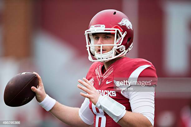 Austin Allen of the Arkansas Razorbacks warming up before a game against the Auburn Tigers at Razorback Stadium on October 24 2015 in Fayetteville...