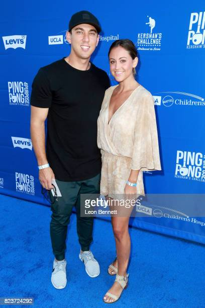 Austin Barnes and Nicole Rappaport at Clayton Kershaw's 5th Annual Ping Pong 4 Purpose Celebrity Tournament at Dodger Stadium on July 27 2017 in Los...