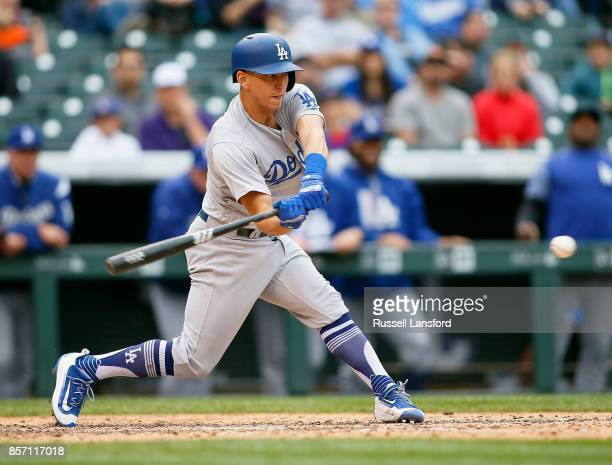 Austin Barnes of the Los Angeles Dodgers bats during a regular season MLB game between the Colorado Rockies and the visiting Los Angeles Dodgers at...