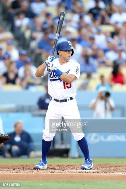 Austin Barnes of the Los Angeles Dodgers bats during the game against the Arizona Diamondbacks at Dodger Stadium on July 6 2017 in Los Angeles...