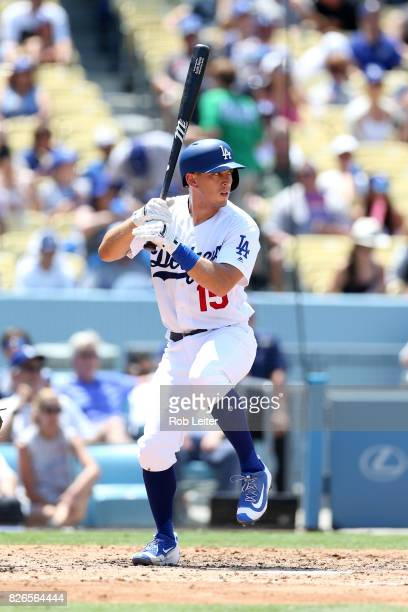 Austin Barnes of the Los Angeles Dodgers bats during the game against the Kansas City Royals at Dodger Stadium on July 9 2017 in Los Angeles...