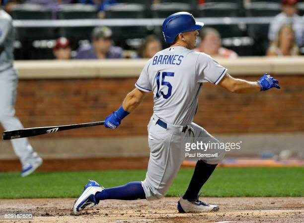 Austin Barnes of the Los Angeles Dodgers bats in an MLB baseball game against the New York Mets on August 6 2017 at CitiField in the Queens borough...