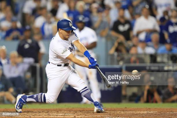 Austin Barnes of the Los Angeles Dodgers hits a two RBI double during the fifth inning against the Arizona Diamondbacks in game two of the National...