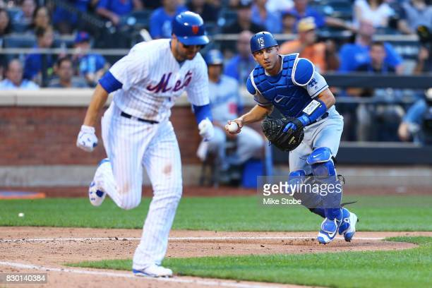 Austin Barnes of the Los Angeles Dodgers in action against the New York Mets at Citi Field on August 5 2017 in the Flushing neighborhood of the...