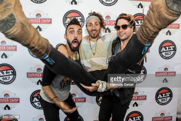 Austin Bisnow Zambricki Li and Brian Zaghi of Magic Giant pose backstage at Alt 987 Summer Camp at Queen Mary Events Park on August 19 2017 in Long...