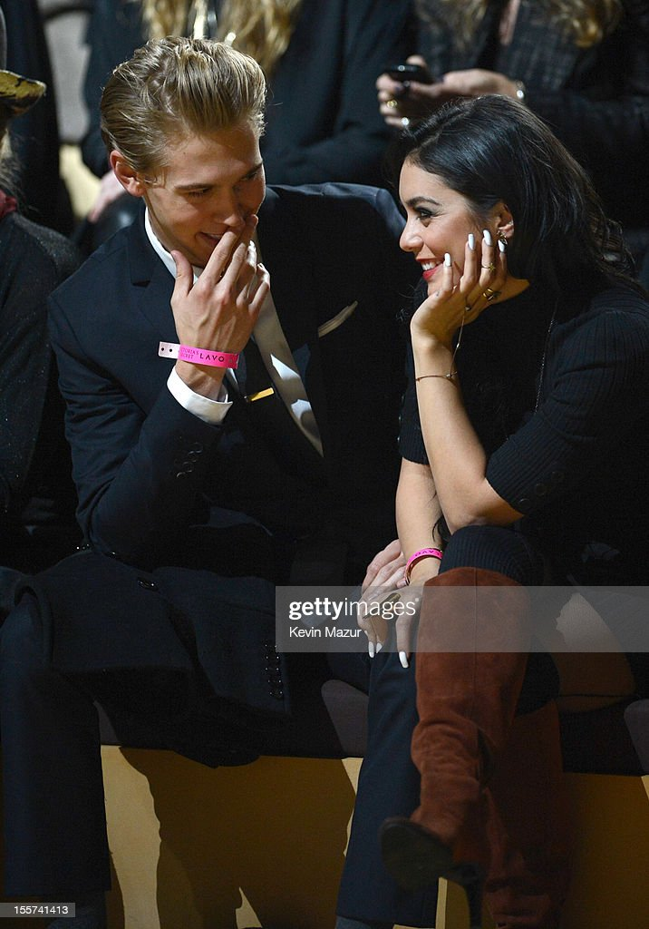 Austin Butler and Vanessa Hudgens attend the 2012 Victoria's Secret Fashion Show at the Lexington Avenue Armory on November 7, 2012 in New York City.
