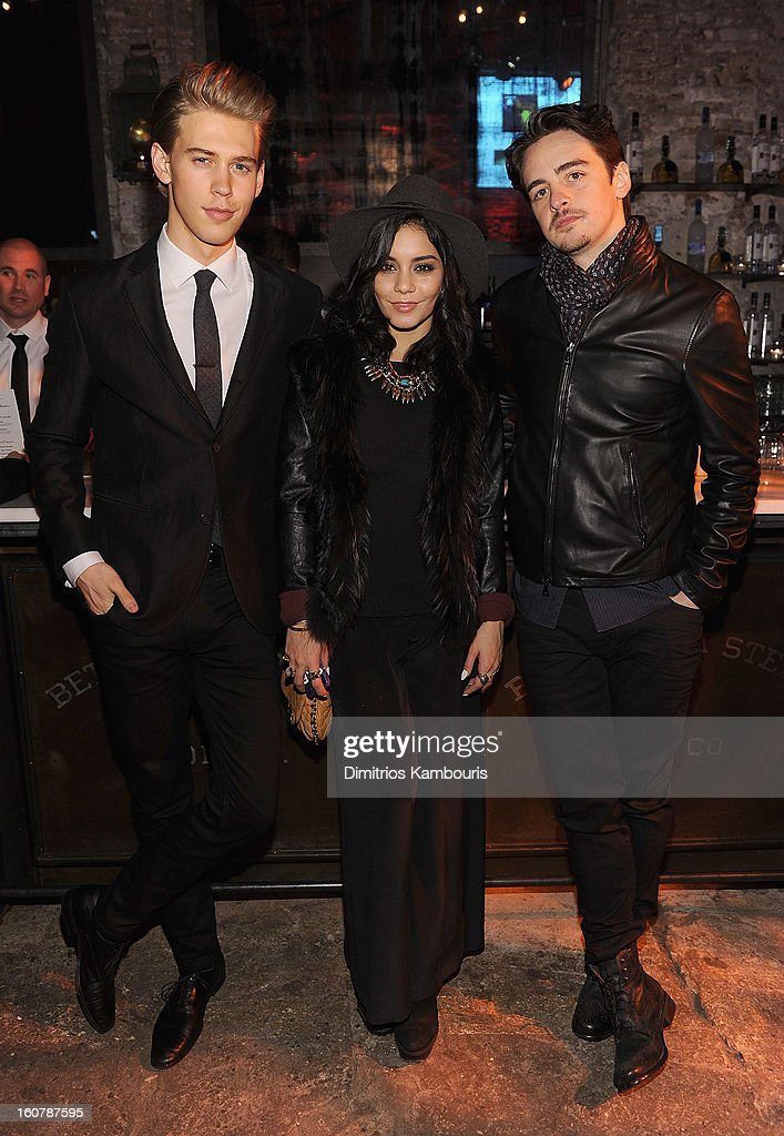 <a gi-track='captionPersonalityLinkClicked' href=/galleries/search?phrase=Austin+Butler&family=editorial&specificpeople=5626394 ng-click='$event.stopPropagation()'>Austin Butler</a>, Vanessa Hudgens and <a gi-track='captionPersonalityLinkClicked' href=/galleries/search?phrase=Vincent+Piazza&family=editorial&specificpeople=2083910 ng-click='$event.stopPropagation()'>Vincent Piazza</a> attend the John Varvatos Celebration of The New JohnVarvatos.com on February 5, 2013 in New York, United States.