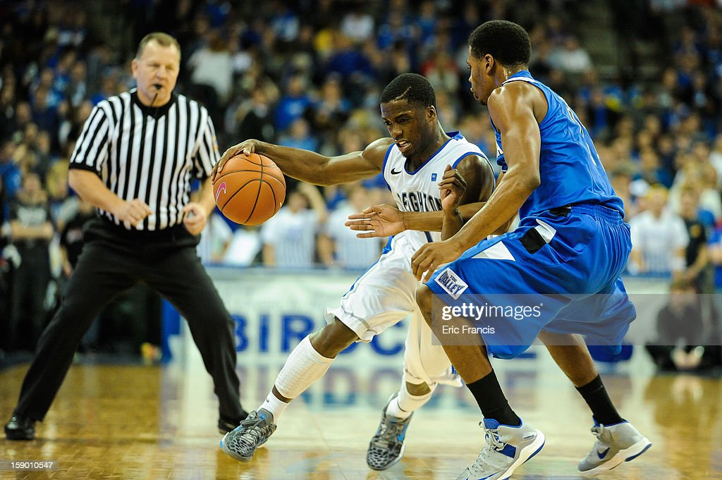 <a gi-track='captionPersonalityLinkClicked' href=/galleries/search?phrase=Austin+Chatman&family=editorial&specificpeople=8839217 ng-click='$event.stopPropagation()'>Austin Chatman</a> #1 of the Creighton Bluejays moves around Devonte Brown #11 of the Indiana State Sycamores during their game at the CenturyLink Center on January 5, 2013 in Omaha, Nebraska. Creighton defeated Indiana State 79-66.