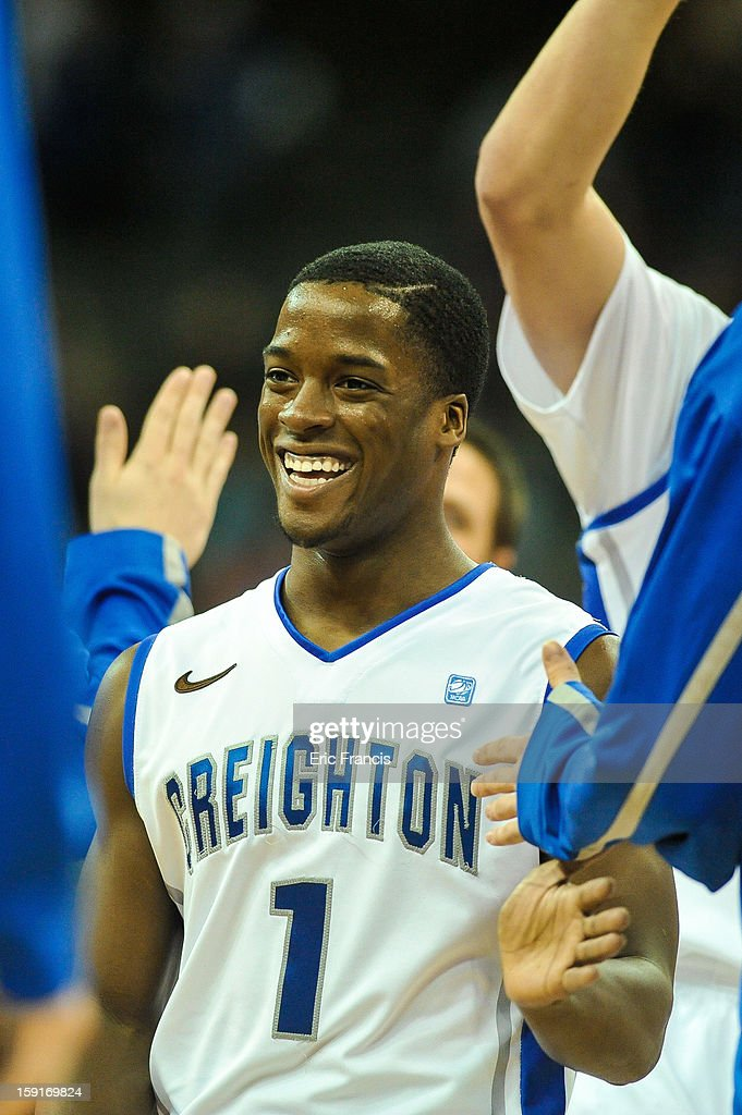 Austin Chatman #1 of the Creighton Bluejays smiles during a time out during their game against the Drake Bulldogs at the CenturyLink Center on January 8, 2013 in Omaha, Nebraska. Creighton defeated Drake 91-61.
